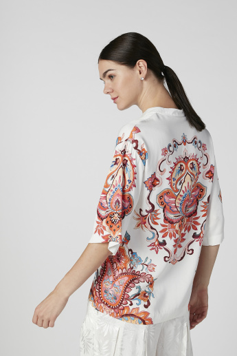 Iconic Printed Top with Mandarin Collar and Short Sleeves