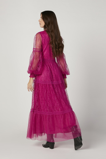 Iconic Lace Maxi A-line Dress with Bishop Sleeves