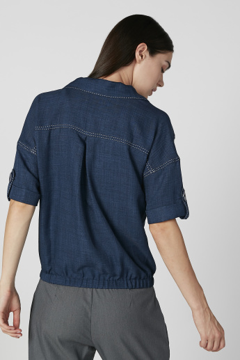 Iconic Textured Top with Short Sleeves and Button Tabs