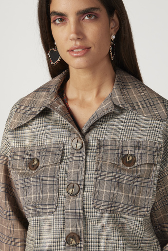 Iconic Chequered Jacket with Long Sleeves and Flap Pockets