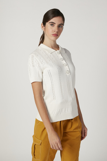 Iconic Textured Top with Spread Collar and Short Sleeves