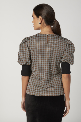 Iconic Embellished Top with Boat Neck and Short Sleeves