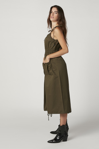 Iconic Plain Midi A-line Dress with Spaghetti Straps and Pocket Detail