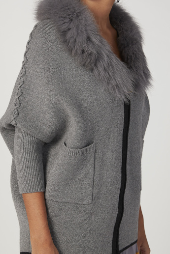 Iconic Wide Fit Textured Cardigan with Long Sleeves and Pocket Detail