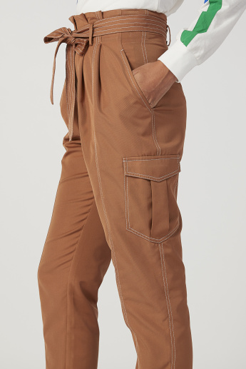 Iconic Wide Fit Plain High Waist Trousers with Paper Bag Waist