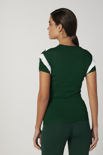 Iconic Slim Fit Textured Top with Round Neck and Short Sleeves