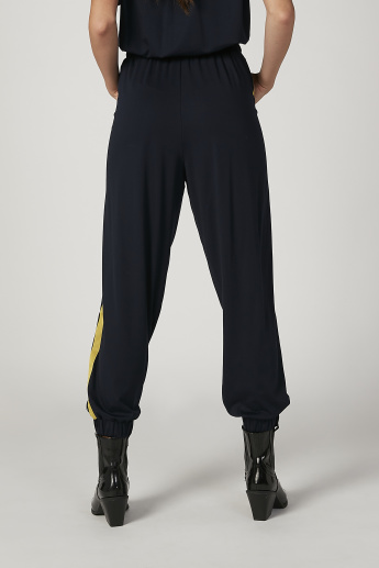 Iconic Wide Fit Striped High Waist Jog Pants with Pocket Detail