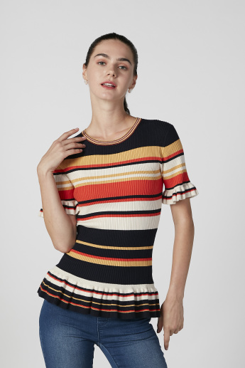 Iconic Slim Fit Striped Top with Ruffle Detail Short Sleeves