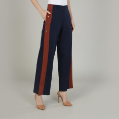 Iconic Wide Fit Solid High-Rise Palazzo Pants with Pocket Detail