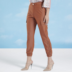 Wide Fit Iconic Plain High Waist Cuffed Pant with Pocket Detail