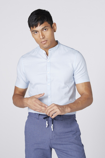 Bossini Mandarin Collar Shirt with Short Sleeves and Complete Placket