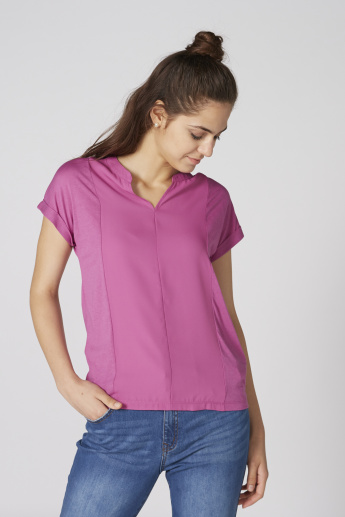 Bossini V-Neck Top with Short Sleeves
