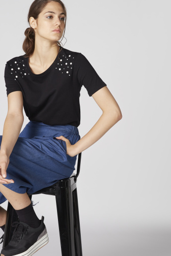 Bossini Embellished Top with Round Neck and Short Sleeves