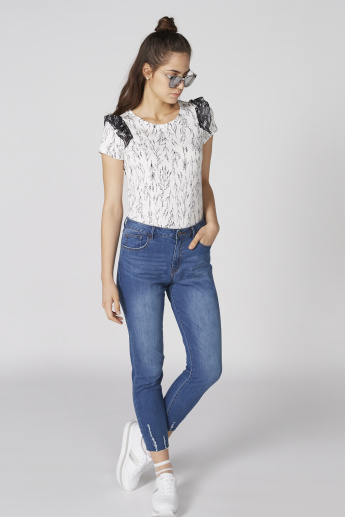 Bossini Printed Round Neck Top with Short Sleeves and Frill Detail
