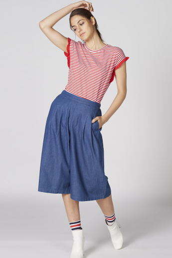 Bossini Striped Top with Round Neck and Extended Sleeves