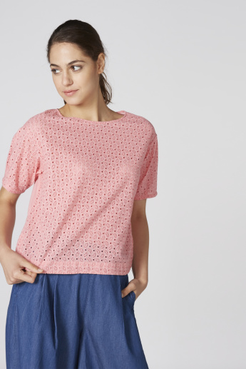 Bossini Schiffli Top with Round Neck and Short Sleeves