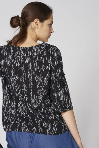 Bossini Printed Top with V-Neck and Flared Sleeves