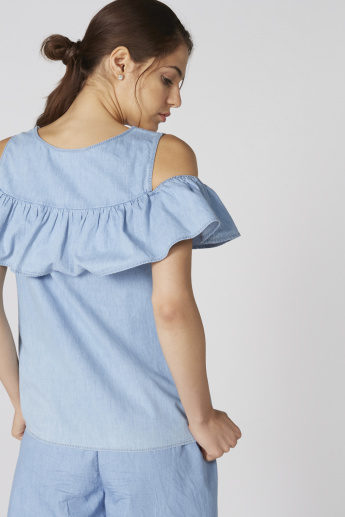 Bossini Ruffle Detail Cold Shoulder Top with Round Neck