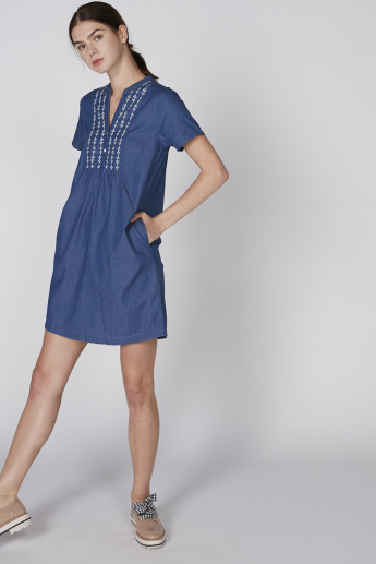 Bossini Embroidered Denim Shift Mini Dress with Side Pockets