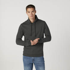 Iconic Slim Fit Plain Sweatshirt  with Long Sleeves and Hood