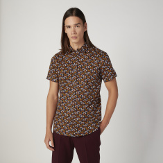 Iconic Slim Fit Printed Collared Shirt with Short Sleeves