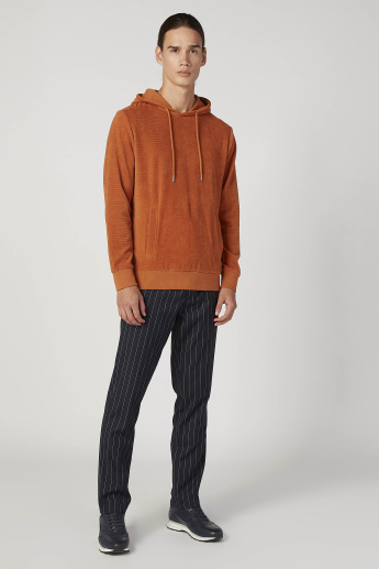 Iconic Slim Fit Textured Hooded Sweatshirt with Long Sleeves