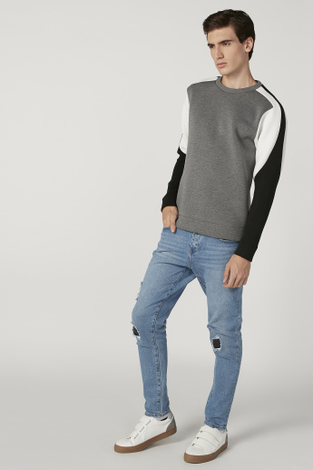 Iconic Slim Fit Colour Block Sweatshirt with Crew Neck and Long Sleeves