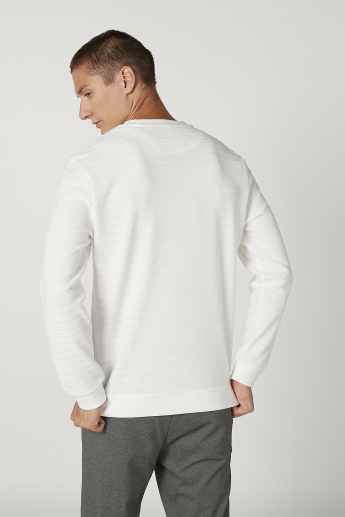 Iconic Slim Fit Textured Sweatshirt with Round Neck and Long Sleeves