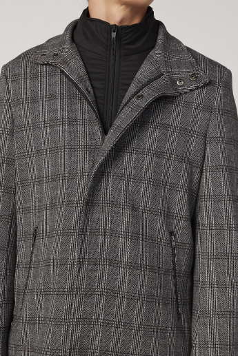 Iconic Slim Fit Chequered Longline Coat with Pockets