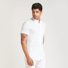 Iconic Slim Fit Printed Shirt with Mandarin Collar and Short Sleeves