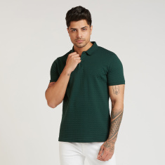 Iconic Slim Fit Textured Polo T-shirt with Short Sleeves