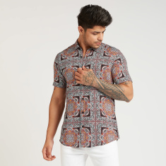 Iconic Slim Fit Printed Shirt with Short Sleeves