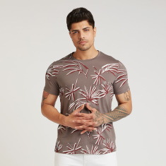 Iconic Printed T-shirt with Crew Neck and Short Sleeves