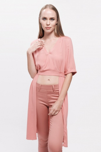 High Low Wrap Top with Surplice Neck