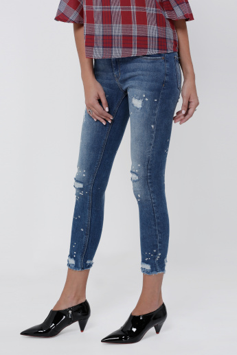 Sustainability Lee Cooper Cropped Distressed Jeans in Skinny Fit