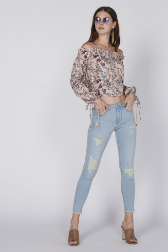 Lee Cooper Printed Off Shoulder Crop Top with Long Sleeves