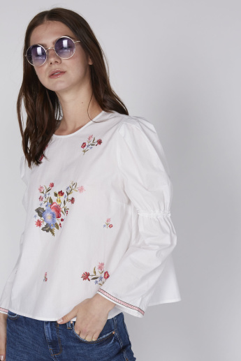 Lee Cooper Embroidered Top with Round Neck and Long Sleeves