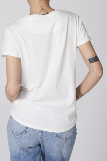 Lee Cooper Embellished T-Shirt with Round Neck and Short Sleeves