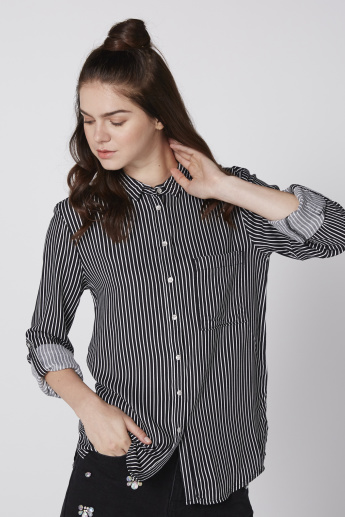 Lee Cooper Striped Shirt with Long Sleeves and Complete Placket