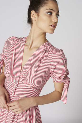 Lee Cooper Striped A-Line Dress with Tie Up Short Sleeves