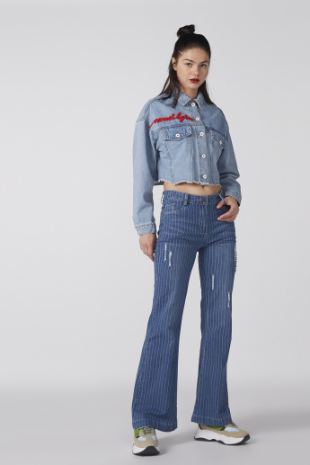 Embroidered Denim Shirt with Long Sleeves and Complete Placket