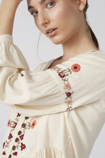 Embroidered V-Neck Top with Long Sleeves and Button Detail