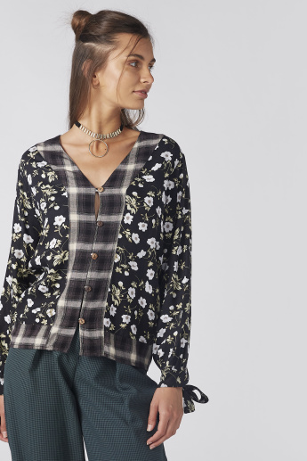 Printed Shirt with Long Sleeves and Tie Ups