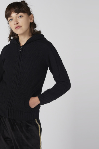 Lee Cooper Textured Cardigan with Zip Closure and Hood