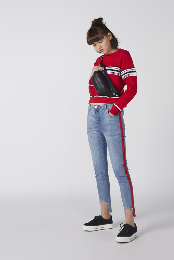 Striped Crop Sweater with Round Neck and Long Sleeves