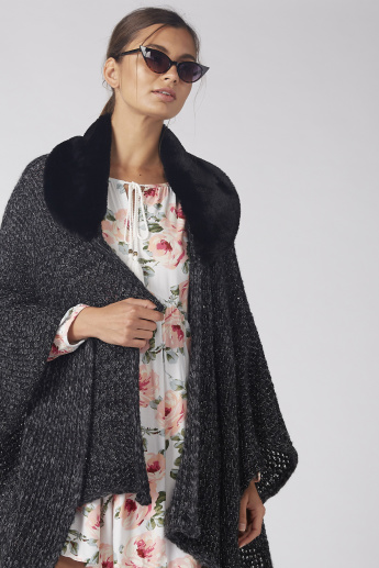 Lee Cooper Textured Cape with Plush Detail