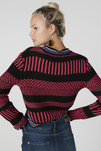 Textured Sweater in Relaxed Fit with Long Sleeves