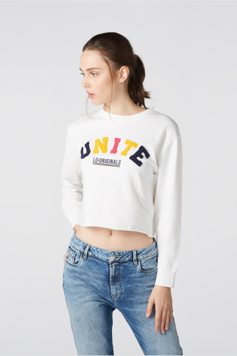 Embroidered Oversized Sweatshirt with Long Sleeves