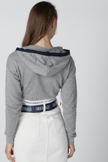 Sustainability Cut and Sew Hooded Crop Top with Long Sleeves