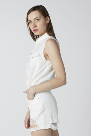 Sustainable Distressed Sleeveless Playsuit with Pocket Detail